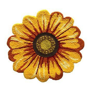 MeMoreCool Handmade Needlepoint Sunflower Acrylic Area Rugs Bedroom/Living Room/Bathroom/Kitchen Home Decoration Carpet Washable Anti-slip Mats Indoor and Outdoor Welcome Rugs Yellow 25.59 by 25.59 Inch  Sunflowers are bold beautiful and bright which is why sunflower home décor is crazy popular right now.  Sun flower home décor can be incorporated into your home by the use of sunflower wall art, sunflower canvas art and sunflower accent pillows.  Sunflower decorative accents can add warmth…