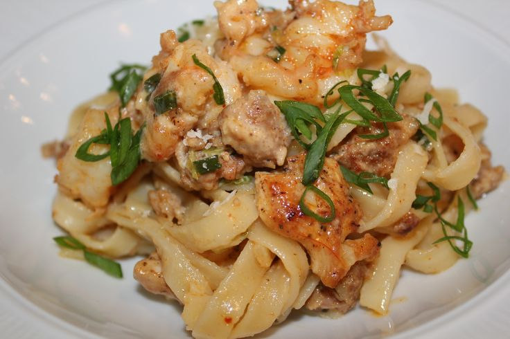 Another name for this dish could be Jambalaya pasta. You got, chicken, shrimp, and sausage!