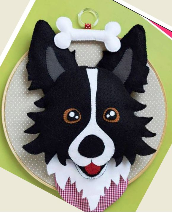 Quadro bastidor feltro cachorro