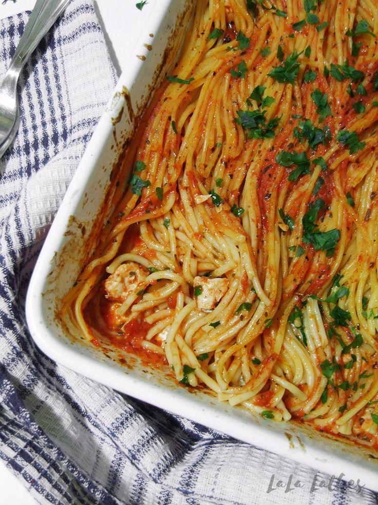 Спагетти с курицей в духовке