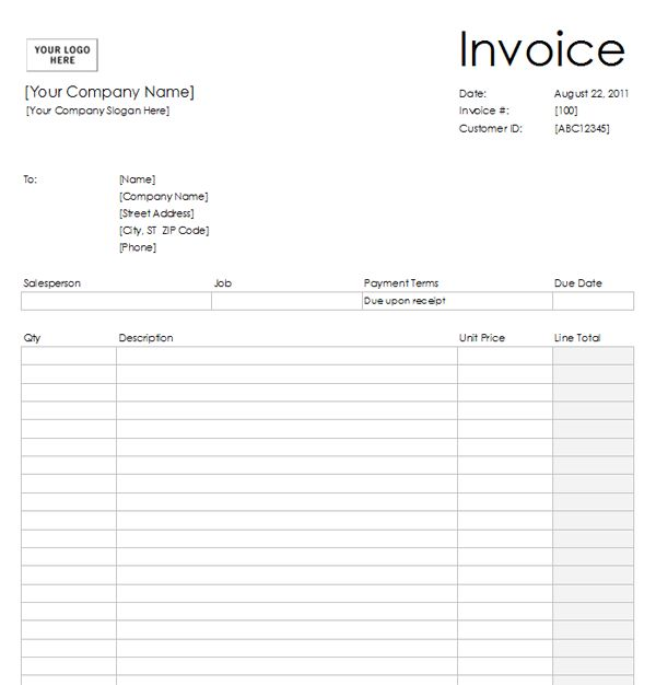 Best Blank Invoice Template Images On