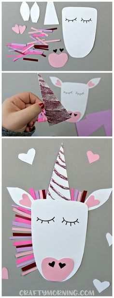 DIY Craft: Make a unicorn valentine's day craft with your kids! Cute heart shaped animal art project to make!