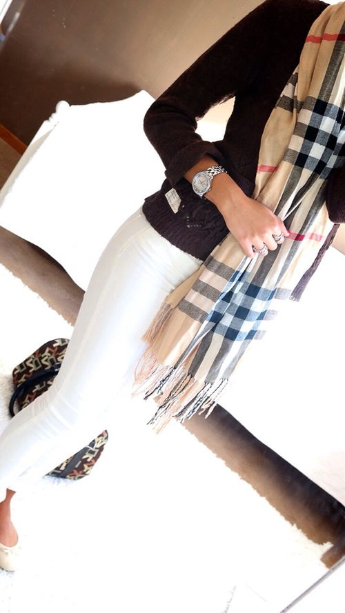 Love this. White pants, blue shirt, pretty watch, and to top it off BURBERRY SCARF <3 love it