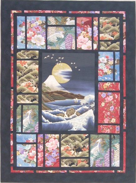 Asian quilting fabric panels goes
