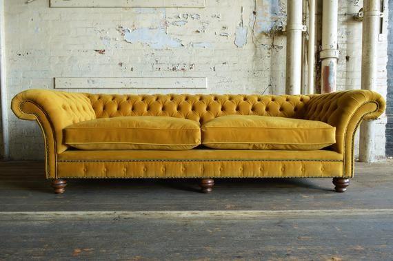 Unique British Handmade Velvet 4 Seater Chesterfield Sofa - Reflex Cushion Seat - MUSTARD