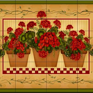 The Tile Mural Store (USA) - Tile Mural - Geranium Pots  - Kitchen Backsplash Ideas - This beautiful artwork by Angela Anderson has been digitally reproduced for tiles and depicts 3 baskets of geraniums.  Our kitchen tile murals are perfect to use as part of your kitchen backsplash tile project. Add interest to your kitchen backsplash wall with a decorative tile mural. If you are remodeling your kitchen or building a new home, install a tile mural above your stove top or install a tile mural…