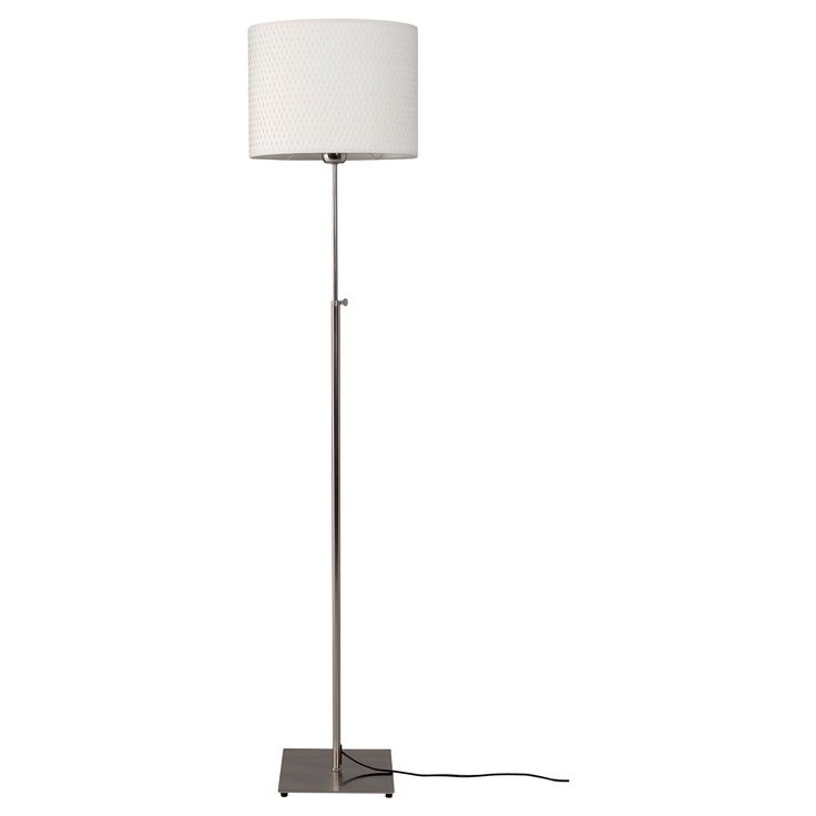Nice look for both ambient and reading; $30 ALÄNG Floor lamp - nickel plated/white - IKEA