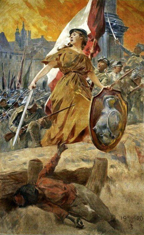 Zdzisław Jasiński (1863 - 1932)   Alegoria zwycięstwa w 1920 roku ; Warszawo naprzód