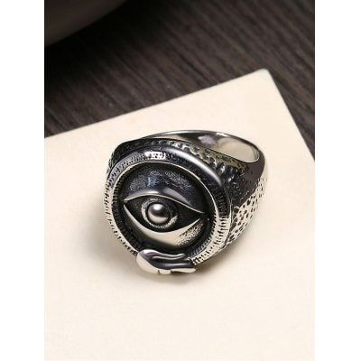 Just US$5.87 + free shipping, buy Vintage Mysterious Eye Carved Titanium Steel Ring online shopping at GearBest.com.