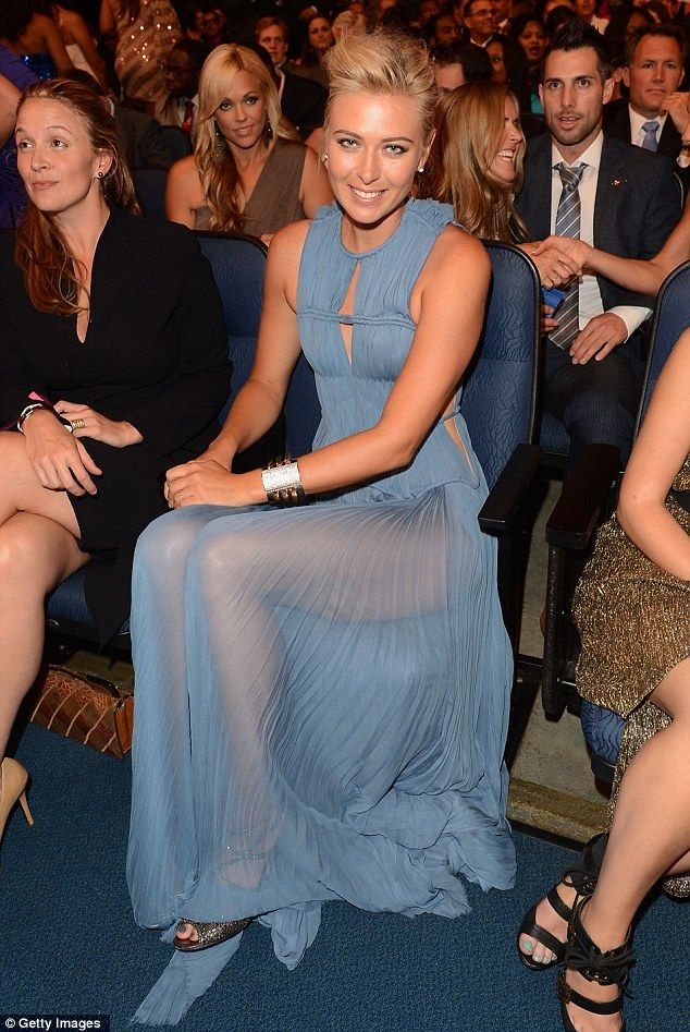 Stunning: Tennis star Maria Sharapova revealed enviable legs in her diaphanous cornflower blue dress, from the J.Mendel 2013 Resort at the ESPY Awards in L.A. on WED July 11, 2012.