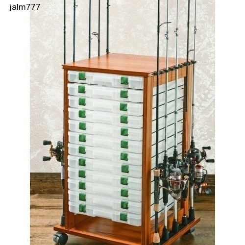Rolling Fishing Rack 16 Rods Rod Reel Pole Utility Box Storage Holder Fly