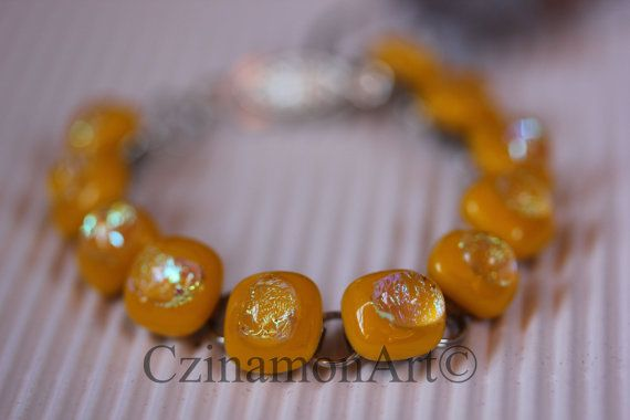 Yellow Silver Dichroic Fused Glass Bracelet Yellow by CzinamonArt, €25.00