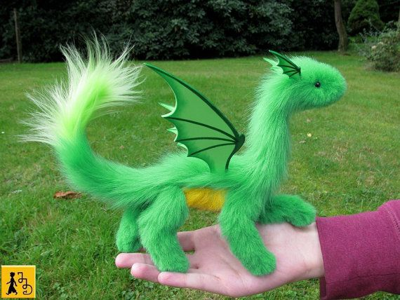 dragon posable doll green yellow wings ceramic by StudioSterna