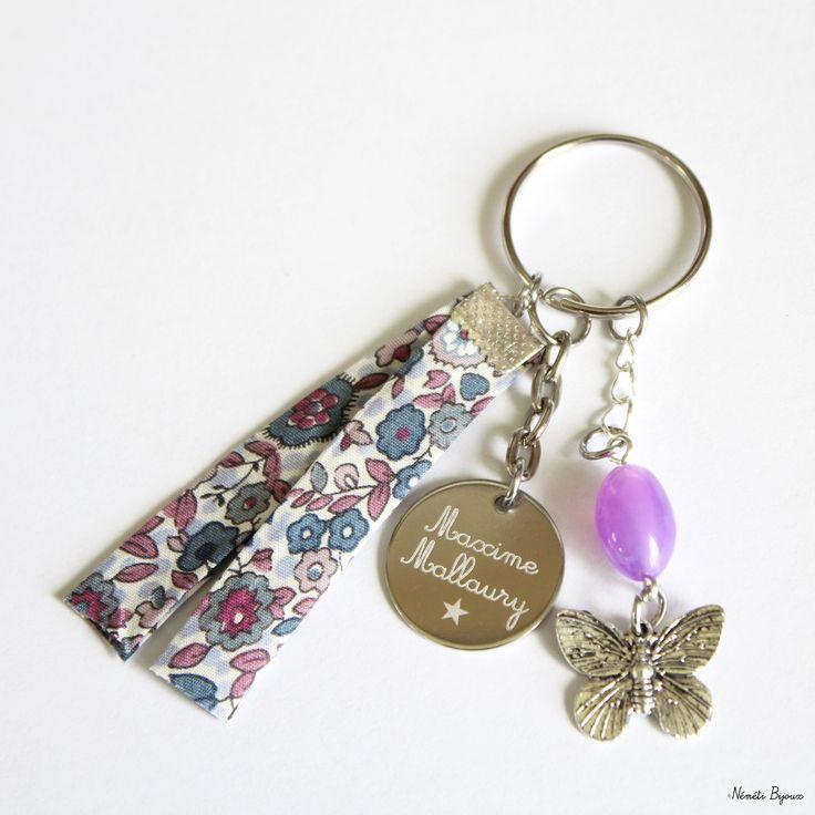 Porte clés liberty gravé personnalisé - bleu prune mauve - gravure prénom message - cadeau unique : Porte clés par nemeti