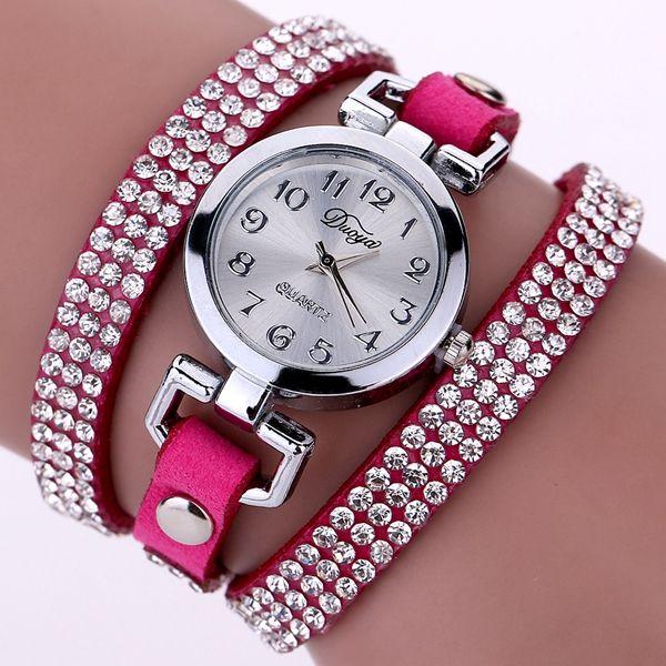 DUOYA Casual Style Crystal Ladies Bracelet Watch Luxury Fine Leather Winding Women Quartz Watches
