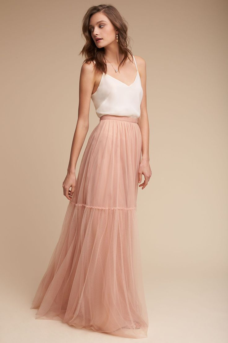 Love this long, dusty rose pink tulle skirt and a simple top for a bridesmaids ensemble!! Liv Cami & Blythe Skirt from @BHLDN