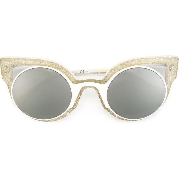 Fendi 'Paradeyes' sunglasses (€445) ❤ liked on Polyvore featuring accessories, eyewear, sunglasses, white, white cateye sunglasses, fendi glasses, cat-eye glasses, white cat eye glasses and rounded sunglasses