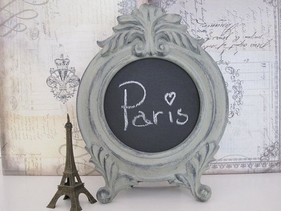 Shabby Chic Chalkboard Frame Paris Chalkboard Baroque Chalkboard Paris  Decor French Grey Chalkboard