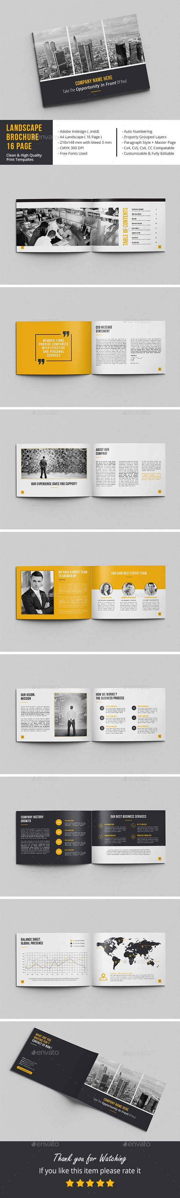 Landscape Brochure Design Template 16 Page - Corporate Brochure Template InDesign INDD. Download here: https://graphicriver.net/item/landscape-brochure-16-page/16950438?s_rank=13&ref=yinkira