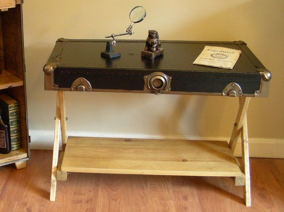 Trunk lid coffee table end table upcycled campaign furniture campaign furniture coffee and