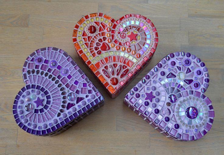 Purple glass mosaic heart shaped box by mimosaico on Etsy