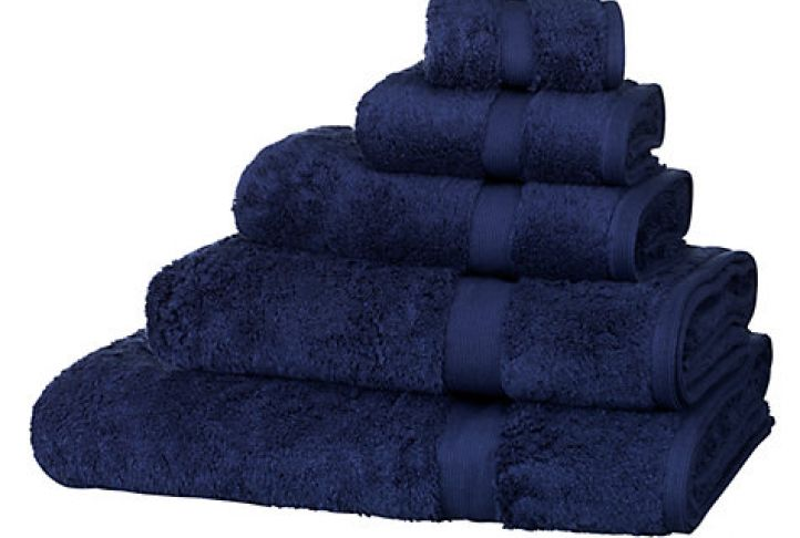 John Lewis Egyptian Cotton Towels, Navy Blue | Absolute Home