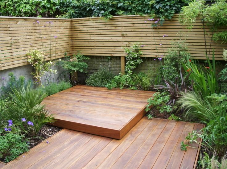 layered decking small garden planslondon