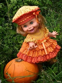 """This Pattern Crochet is for the Galoob Baby Face dolls outfit, which include the patterns for dress, hat, panties. This can be made to fit an other 12"""" doll."""