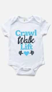 Crawl Walk Life bodysuit - sized from 0-24m - also available with pink text!