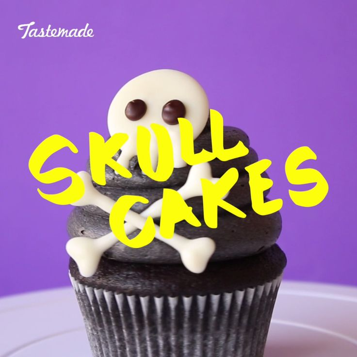 Make a statement this Halloween with these scaryily cute Skull Cupcakes.