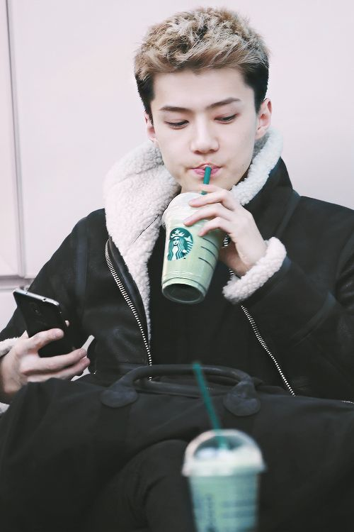 SEHUN♥ I love this drink, and I tryed it before i was in the fandom. Further proof we are so close to each other, love the sehunnie.