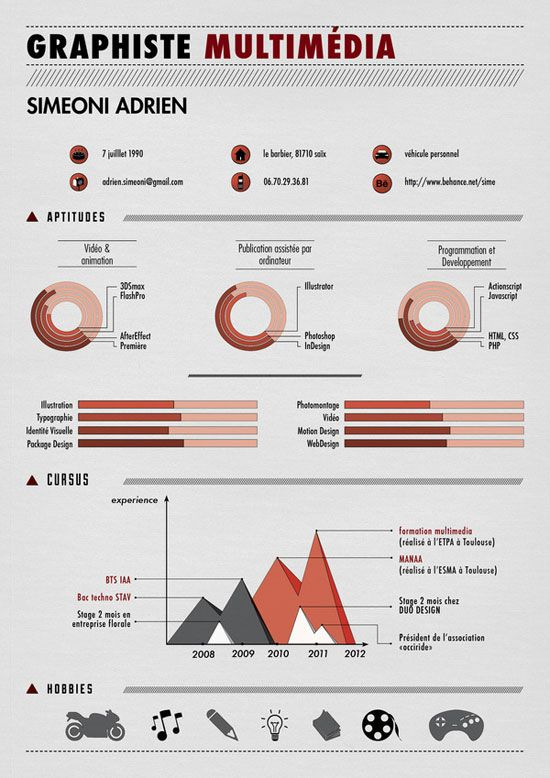 21 best CV design images on Pinterest Resume design, Design - hobbies in resume