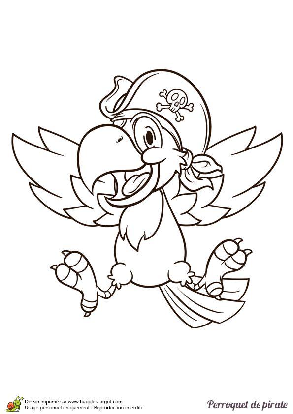 Dessin à colorier d'un perroquet de pirate heureux - Hugolescargot.com