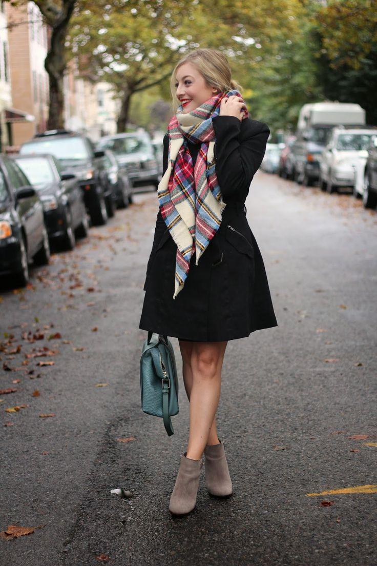 Cozy Scarf @asos love the booties and bun too!