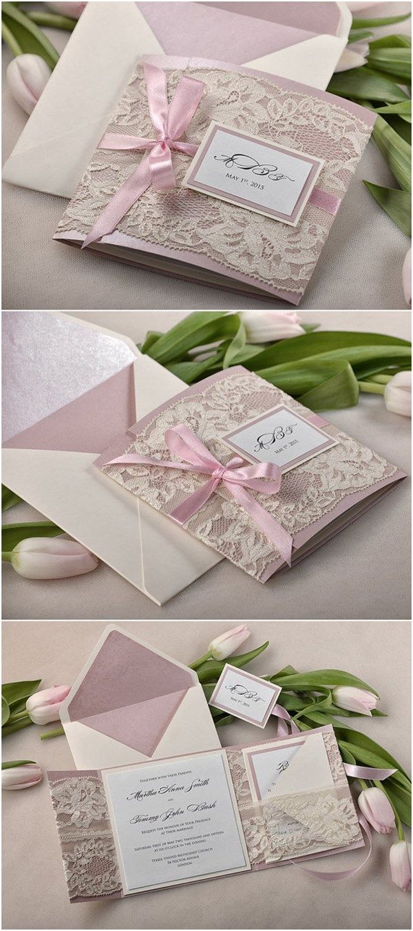Vintage Patel Pink and Ecru Lace Wedding Invite Kits