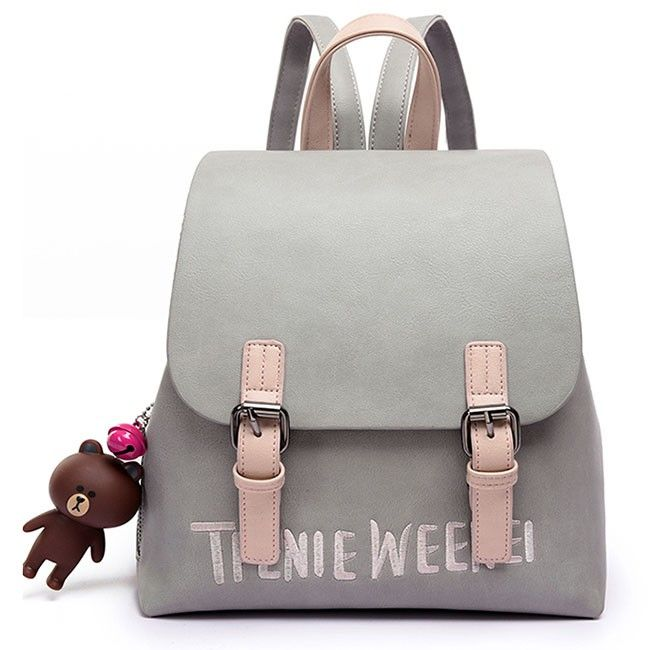 How nice Cute Frosted PU Letters Embroidery Belt Flap Gift Bear Doll Small Lady School Backpacks ! I like it ! I want to get it ASAP!