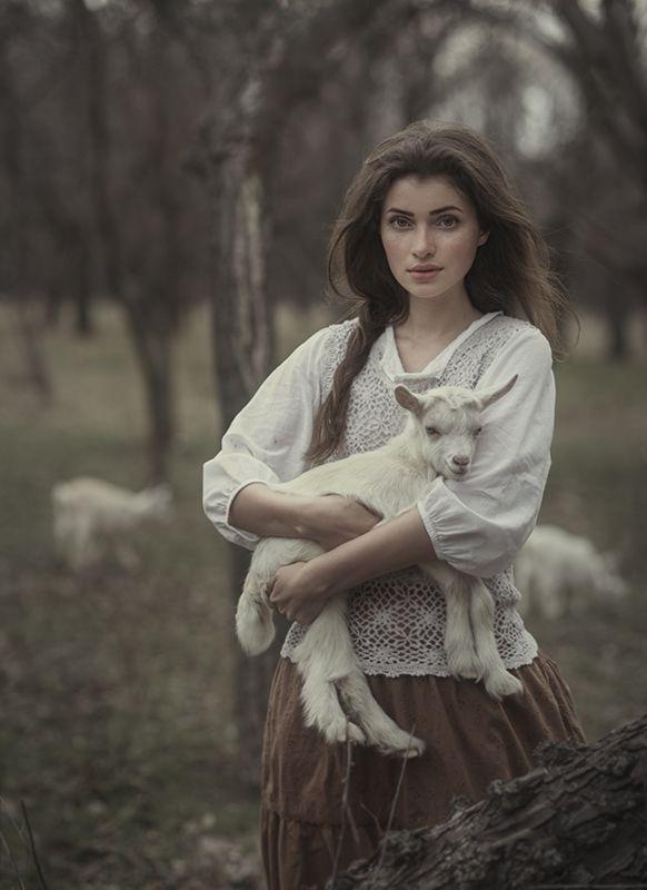 "voiceofnature: "" "" photo girl little goat / By David D davidfotographer.35photo.ru "" """