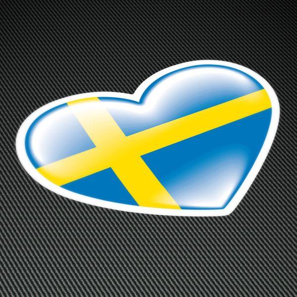 Pegatinas: Corazón bandera Sweden (Suecia) #bandera #pegatina #TeleAdhesivo