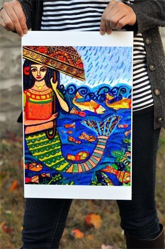 Mermaid Art Print Mexican Folk Art Poster by HeatherGallerArt, $24.00