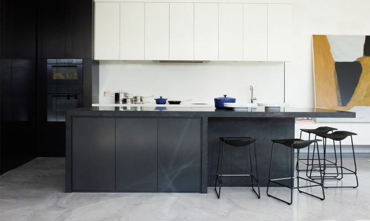 Mim Design | SKD Residence; #kitchen, black and white, monolithic island bench