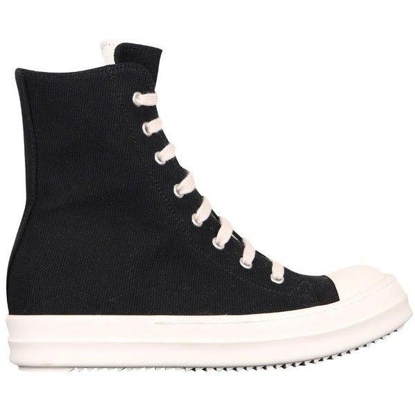 Drkshdw By Rick Owens Hig-top sneakers canvas (1 005 AUD) ❤ liked on Polyvore featuring shoes, sneakers, black, high top sneakers, black canvas shoes, black high top sneakers, canvas sneakers and canvas high tops