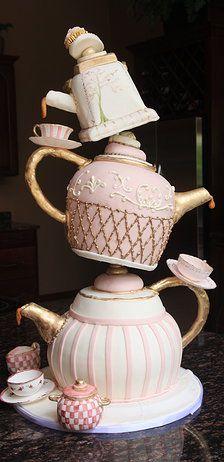 Whimsical tiered tea cake ~