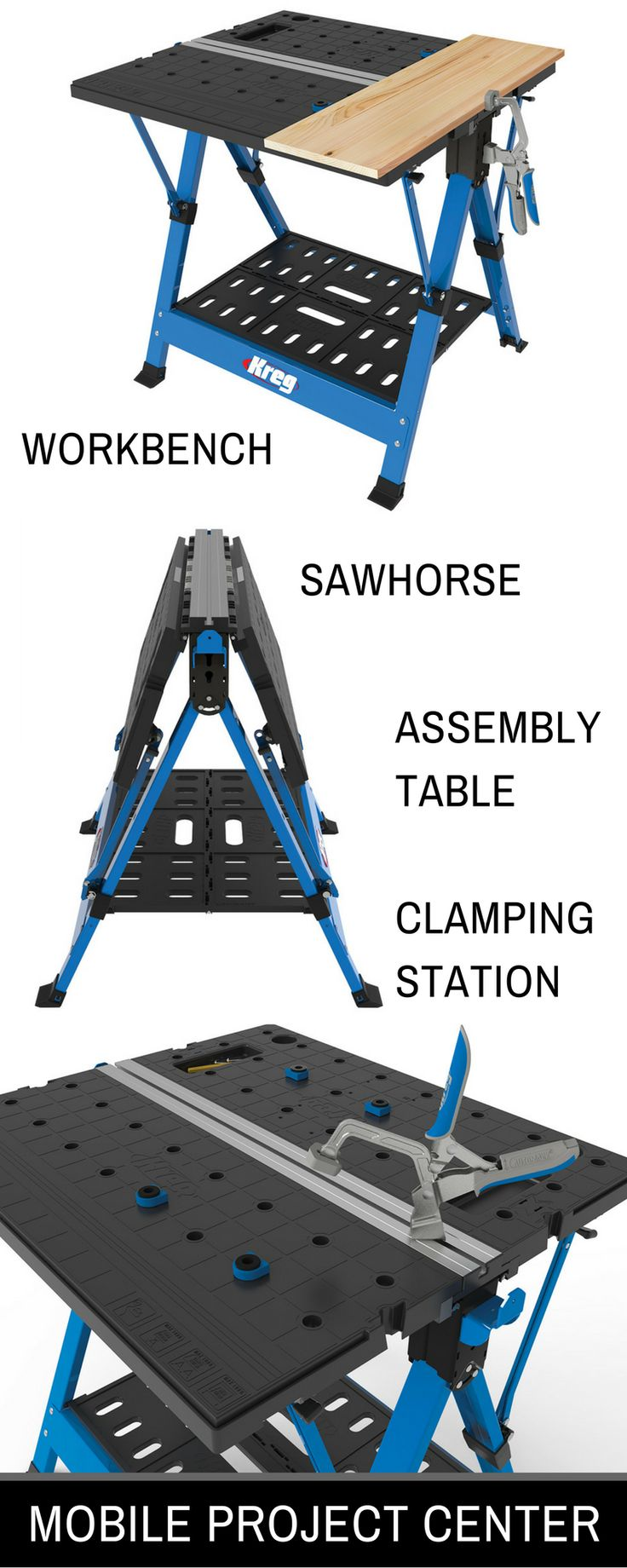 The Mobile Project Center provides a portable workspace that can be used for a wide variety of project tasks. In one mode, it's a sturdy sawhorse that's great for supporting long boards as you cut. Flip the large tables into position and this product offers the features you'd expect to find in a high-end stationary workbench. The Clamp Trak and included Bench Clamp with Automaxx® Auto-Adjust Technology provide multiple ways to hold workpieces.