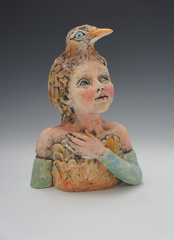 Items similar to A Little Birdy Told Me So ceramic sculpture by artist Victoria Rose Martin on Etsy