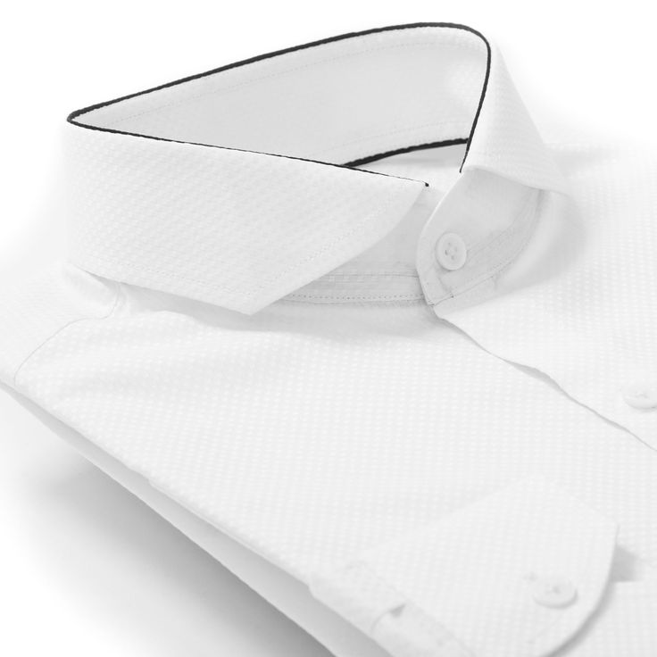 Black edge detailing on modern spread collar dress shirt.