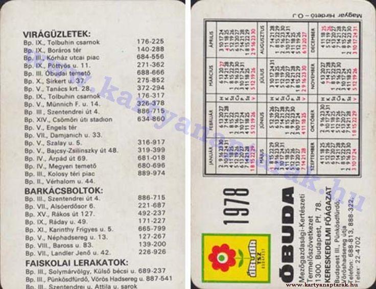 1978 - 1978_0929 - Régi magyar kártyanaptárak