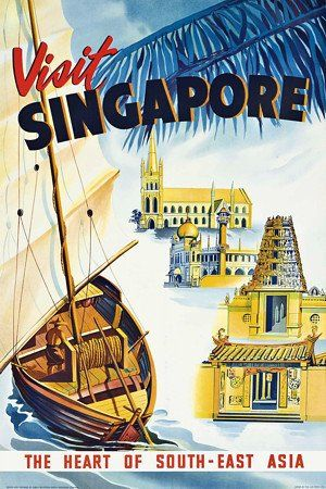 Visit Singapore. The heart of South-East Asia. Vintage travel poster http://venusvalentino.com.au/collections/travel/products/venus-valentino-art-print-singapore-vintage-travel-posters-canvas-prints-tv799
