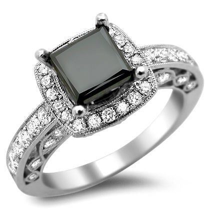 Black Diamond Engagement Ring inspired by Carrie Bradshaw's gift from Mr. Big in Sex and the City 2