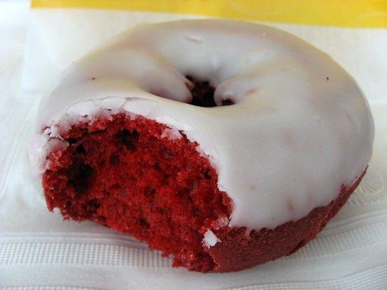 red velvet donuts. Wonderful for Christmas morning!