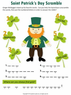 This is a photo of Terrible St Patrick's Day Crossword Puzzle Printable